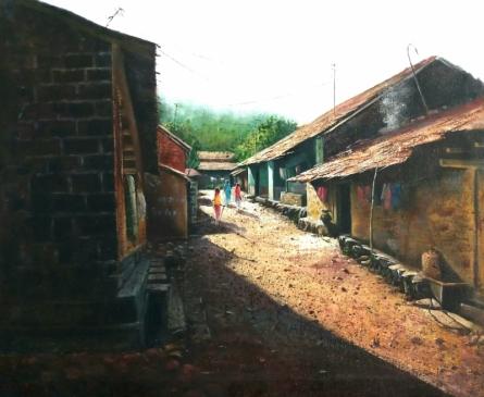 Landscape Oil Art Painting title Village 2 by artist Pravin Pasare