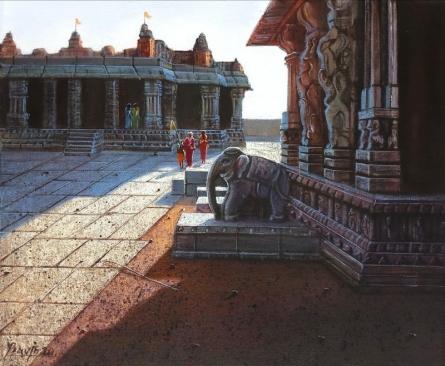 Religious Oil Art Painting title Vitthala Temple Hampi 22 by artist Pravin Pasare