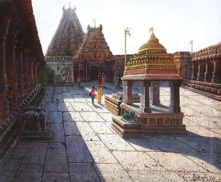 Religious Oil Art Painting title Vitthala Temple Hampi 24 by artist Pravin Pasare