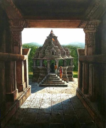Religious Oil Art Painting title Vitthala Temple Hampi 27 by artist Pravin Pasare