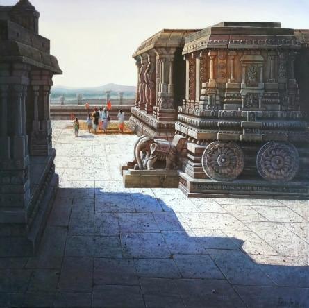 Pravin Pasare | Oil Painting title Vitthala Temple Hampi 4 on Canvas