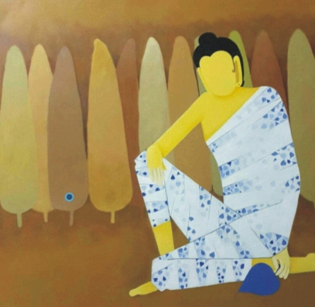 Lord Buddha | Painting by artist Sujit Giram | acrylic | Canvas