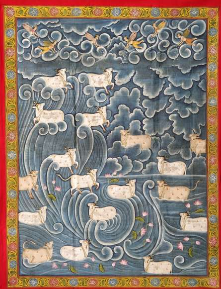 Traditional Indian art title Cows Pichwai 1 on Cloth - Pichwai Paintings