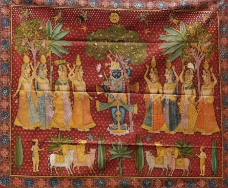 Traditional Indian art title Daanutsav Pichwai on Cloth - Pichwai Paintings