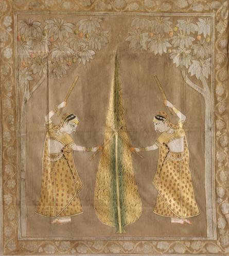Traditional Indian art title Ger Utsav Pichwai on Cloth - Pichwai Paintings