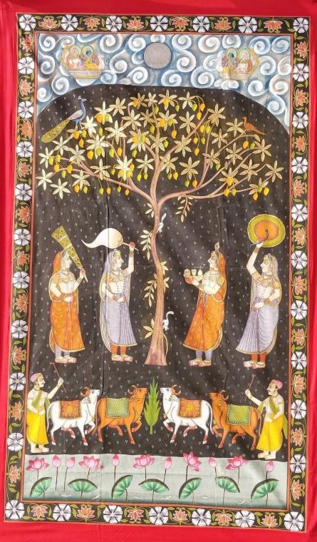 Traditional Indian art title Khejri Pujan Pichwai on Cloth - Pichwai Paintings