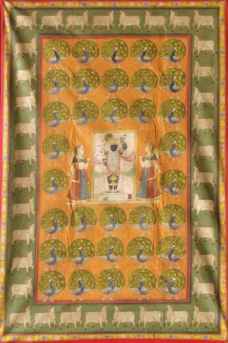 Traditional Indian art title Morkutir Pichwai 1 on Cloth - Pichwai Paintings