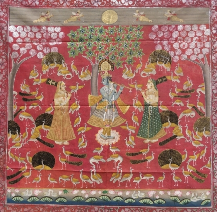 Traditional Indian art title Morkutir Pichwai 3 on Cloth - Pichwai Paintings