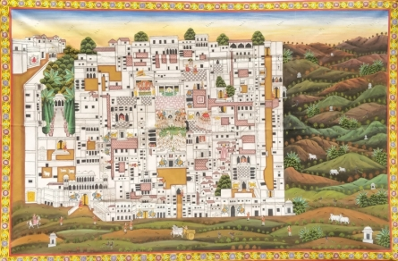 Traditional Indian art title Nathdwara Temple Pichwai 2 on Cloth - Pichwai Paintings