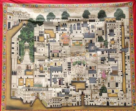 Traditional Indian art title Nathdwara Temple Pichwai 3 on Cloth - Pichwai Paintings