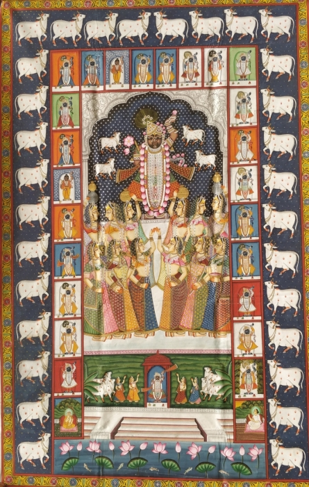 Traditional Indian art title Pichwai 43 on Cloth - Pichwai Paintings