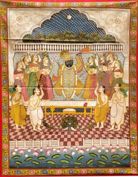Traditional Indian art title Sharad Purnima Pichwai on Cloth - Pichwai Paintings