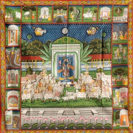 Pichwai Art | Pichwai Traditional art title Shree Krishna Venunad Swaroop 1 on Cloth | Artist Pichwai Art Gallery | ArtZolo.com