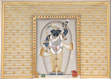 Traditional Indian art title Shrinathji 4 on Cloth - Pichwai Paintings