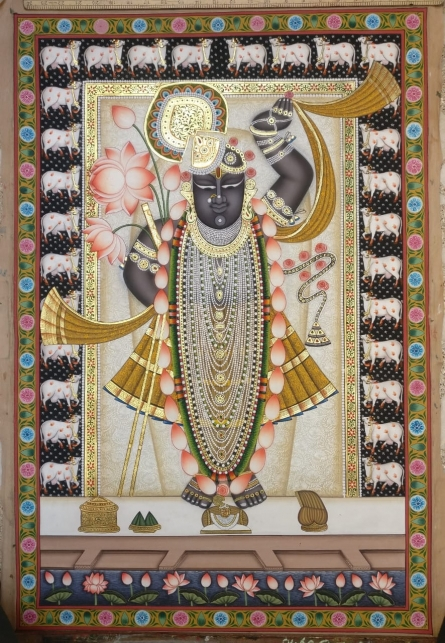 Pichwai Paintings | Traditional art title Shrinathji 7 on Cloth | Artist Pichwai Art