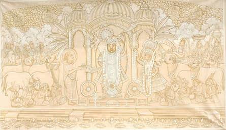 Pichwai Art | Pichwai Traditional art title Shrinathji Monochrome on Cloth | Artist Pichwai Art Gallery | ArtZolo.com