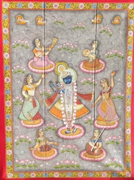 Traditional Indian art title Srinathji In Kamal Talai on Cloth - Pichwai Paintings