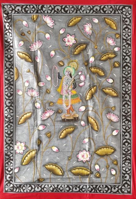 Traditional Indian art title Yamunaji Pichwai on Cloth - Pichwai Paintings