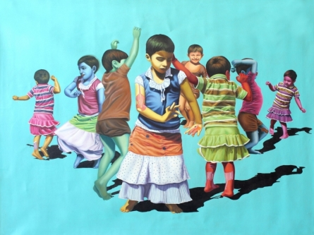 Aaja Nach Le | Painting by artist Jitendra Saini | mixed-media | Canvas