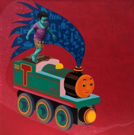 contemporary Acrylic-oil Art Painting title 'The Train' by artist Jitendra Saini