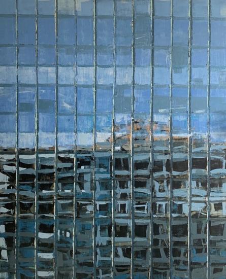 Cityscape Oil Art Painting title 'Cityscape' by artist Harshit Bondre