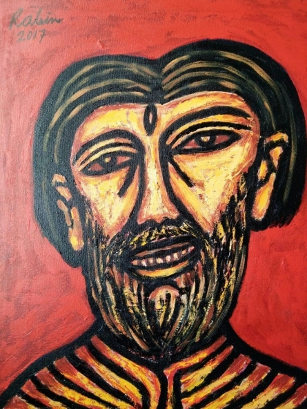 Portrait Acrylic Art Painting title Face by artist Rabin Mondal