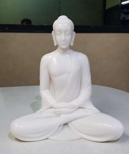 Polystone, Marble Sculpture titled 'Gautama Buddha 3' by artist Bhagwan Rampure