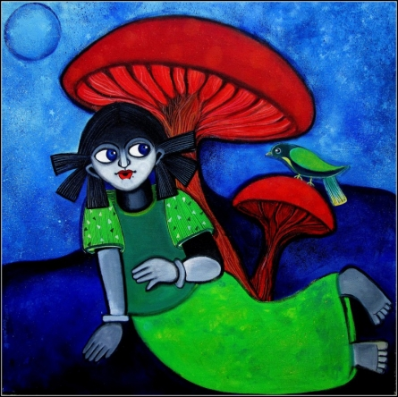 Sharmi Dey | Acrylic Painting title Seek shelter on Canvas | Artist Sharmi Dey Gallery | ArtZolo.com