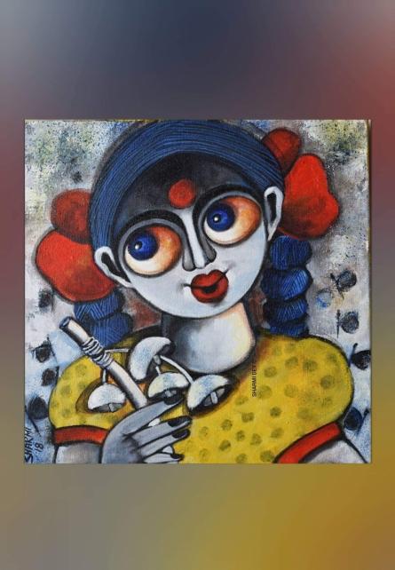 Figurative Acrylic Art Painting title 'Kumari' by artist Sharmi Dey