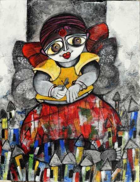 Figurative Acrylic Art Painting title 'Dreamland' by artist Sharmi Dey