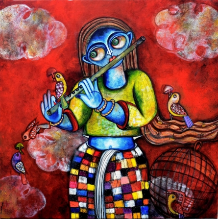 Figurative Acrylic Art Painting title 'Yashomati' by artist Sharmi Dey