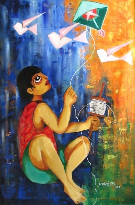 Figurative Acrylic Art Painting title 'Innocence' by artist Sharmi Dey