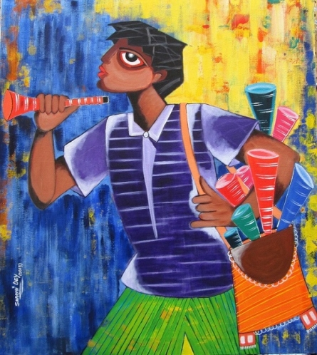 Figurative Acrylic Art Painting title Tin Whistle by artist Sharmi Dey