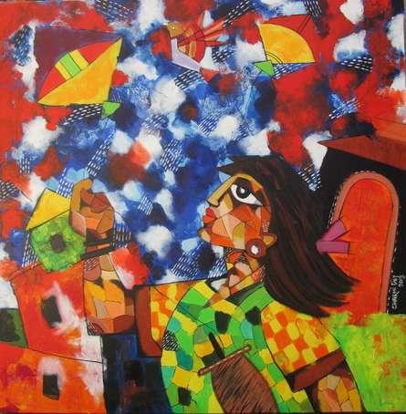 Figurative Acrylic Art Painting title 'Kites' by artist Sharmi Dey