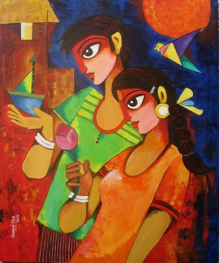 Figurative Acrylic Art Painting title 'GIFT OF LOVE' by artist Sharmi Dey