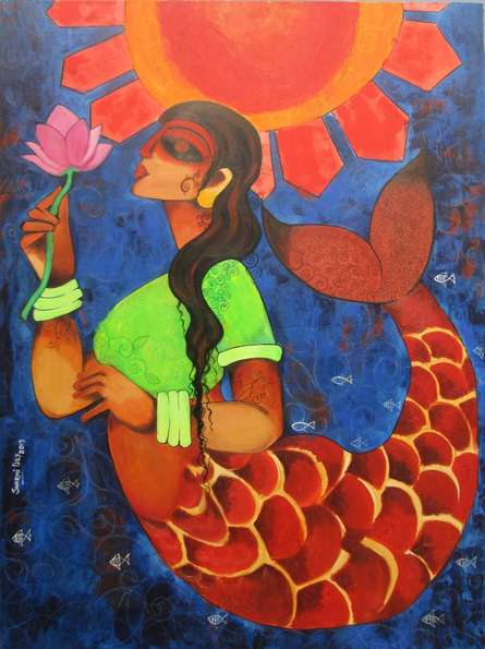 Figurative Acrylic Art Painting title 'Ocean Girl' by artist Sharmi Dey