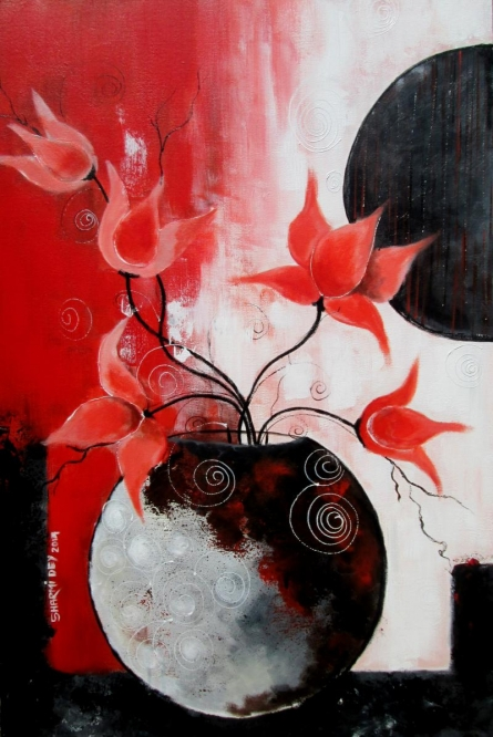 Abstract Acrylic Art Painting title 'Blossom 1' by artist Sharmi Dey