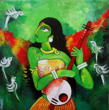 Sharmi Dey | Acrylic Painting title Fairy Tale on Canvas | Artist Sharmi Dey Gallery | ArtZolo.com
