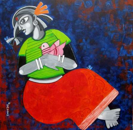 Figurative Acrylic Art Painting title 'Daughter and her Dreams' by artist Sharmi Dey