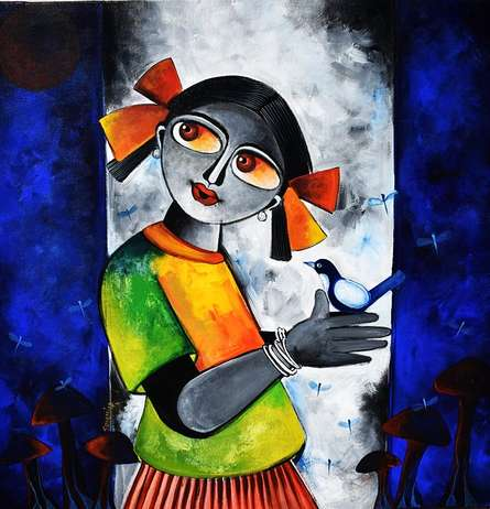 Figurative Acrylic Art Painting title 'Chirping thoughts' by artist Sharmi Dey