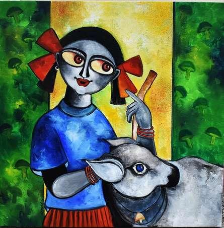 In my village   Painting by artist Sharmi Dey   acrylic   Canvas