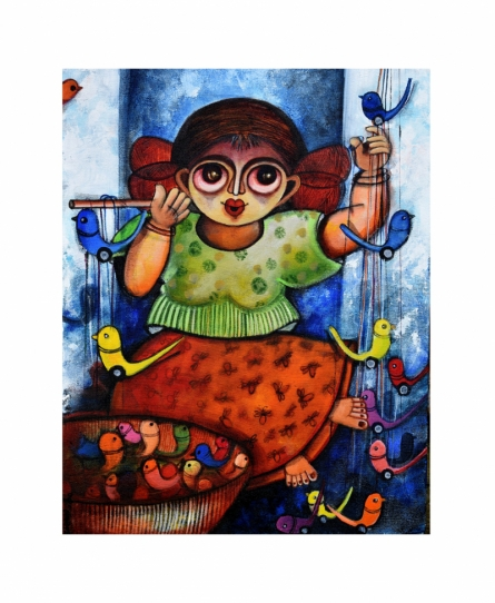 Figurative Acrylic Art Painting title 'Happiness seller' by artist Sharmi Dey