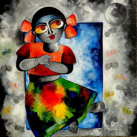 Dancing in moonlight | Painting by artist Sharmi Dey | acrylic | Canvas