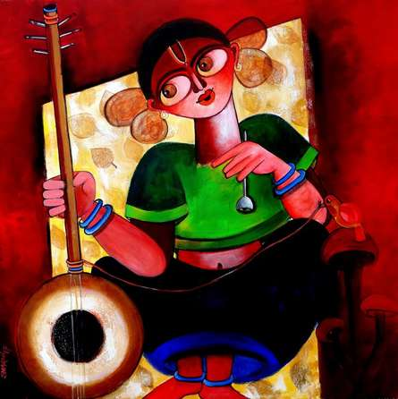 Figurative Acrylic Art Painting title 'Baishnabi' by artist Sharmi Dey