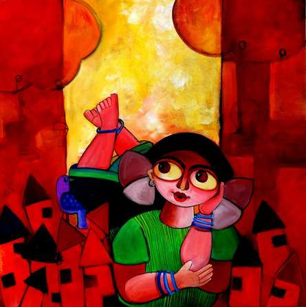 Figurative Acrylic Art Painting title 'Pretty thoughts' by artist Sharmi Dey