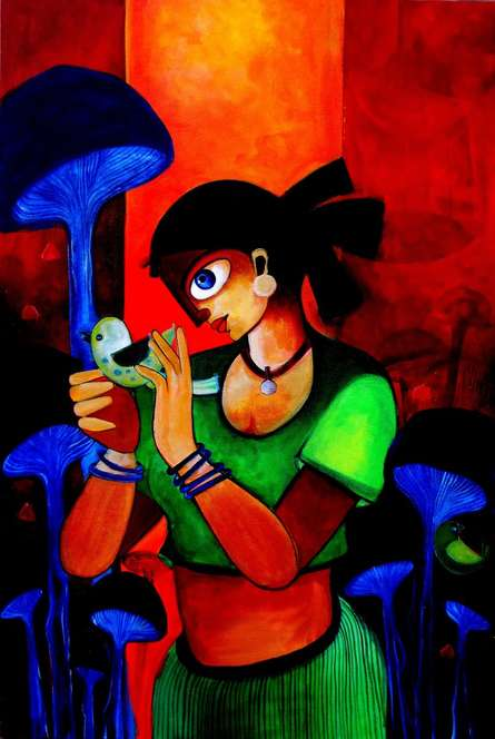 Figurative Acrylic Art Painting title Twilight by artist Sharmi Dey