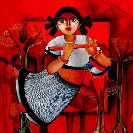 Figurative Acrylic Art Painting title BRINDA by artist Sharmi Dey
