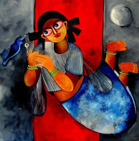 Key to happiness | Painting by artist Sharmi Dey | acrylic | Canvas