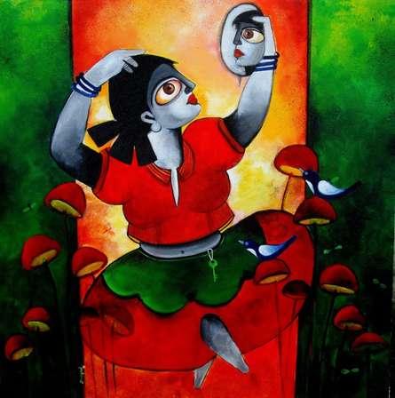 POISED   Painting by artist Sharmi Dey   acrylic   Canvas
