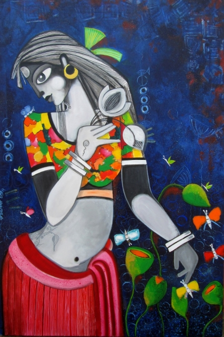Figurative Acrylic Art Painting title 'FINNA FAIRE' by artist Sharmi Dey